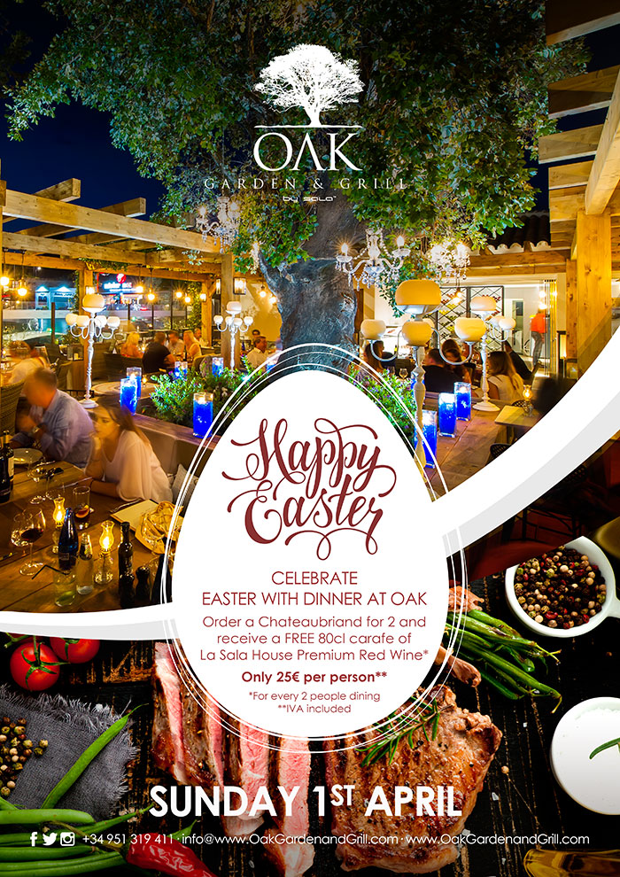 Celebrate Easter at OAK Grill in Puerto Banus