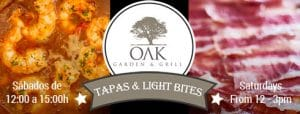 OAK Tapas menu, Saturdays in Puerto Banus