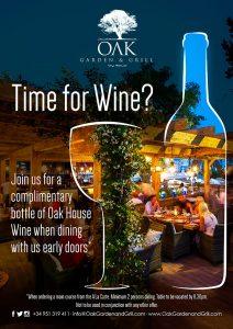 Free wine when you dine at OAK in Marbella
